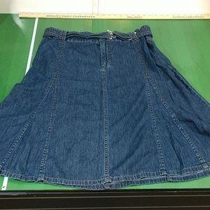Liz Claiborne Denim Flare Skirt with Belt